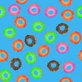 Colorful Fresh Sweet Donuts Seamless Pattern Stock Photography