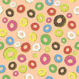 Colorful Fresh Sweet Donuts Seamless Pattern Stock Image