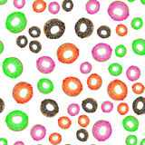 Colorful Fresh Sweet Donuts Seamless Pattern Stock Images