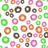 Colorful Fresh Sweet Donuts Seamless Pattern Royalty Free Stock Photography