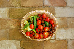 Colorful fresh tomatoes and peppers Royalty Free Stock Photos