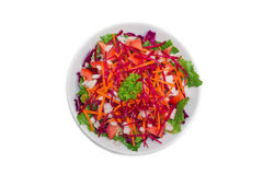 Colorful fresh vegetable salad on white background stock images