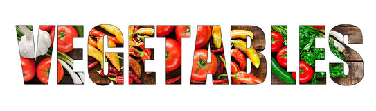 Colorful fresh vegetables inside text on white backround Royalty Free Stock Photos