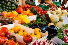 Colorful fresh vegetables market in France. Royalty Free Stock Photo
