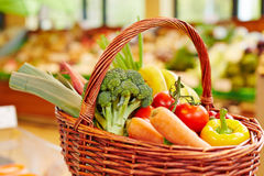 Colorful fresh vegetables in shopping basket Stock Images