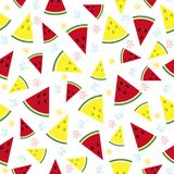 Colorful fresh watermelon fruits seamless summer pattern backgro Royalty Free Stock Photos