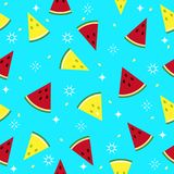 Colorful fresh watermelon fruits seamless summer pattern backgro Stock Image