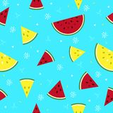 Colorful fresh watermelon fruits seamless summer pattern backgro Stock Photos