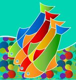Colorful freshwater fish, life in the sea, icon vector. Design illustration Stock Photos