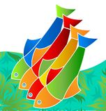 Colorful freshwater fish, life in the sea, icon vector. Design illustration Royalty Free Stock Photo