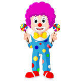 Colorful Friendly Clown With Lollypop. Illustration of Colorful Friendly Clown With Lollypop Stock Photos