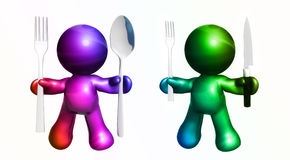 Colorful friends with dining utensils. Colorful friend icon figures holding fork spoon and knife Stock Photography