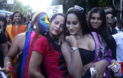 Colorful friends. Transgender and gay right activist at Kolkata Rainbow Pride 2014 Royalty Free Stock Photos
