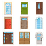 Colorful front doors. Collection of vIntage and modern doors to houses and buildings vector illustrations Royalty Free Stock Images