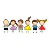 Colorful front view group cartoon children. Illustration Stock Images