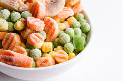 Colorful frozen mixed vegetables Stock Photo