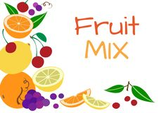 Colorful fruit background, vector stock illustration