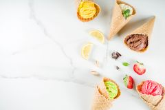 Colorful fruit and berry ice cream stock photo