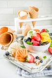 Colorful fruit and berry ice cream royalty free stock image