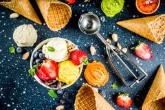 Colorful fruit and berry ice cream stock images