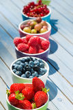 Colorful fruit bowls Royalty Free Stock Photography