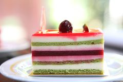 Colourful fruit cake. In close up stock images