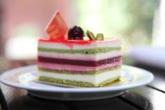 Colourful fruit cake. In close up stock image