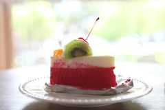 Colorful fruit cake, Dessert. Colorful fruit cake in close up royalty free stock image