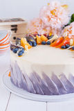 Colorful fruit cake Stock Photos