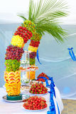 Colorful fruit and cake decoration on banquet party Royalty Free Stock Images