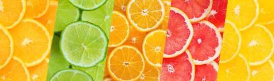 Colorful fruit collage Stock Images