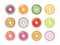 Colorful Fruit Donuts Vector Set Collection Isolated Stock Photo