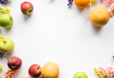 Colorful Fruit & Flower Frame. Colorful frame of Fruit and flowers Stock Photo