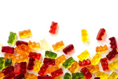 Colorful fruit gum candy bears isolated with small shadow on whi Stock Photos