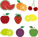 Colorful Fruit Icons. Set of Colorful Fruit Icons Royalty Free Stock Images