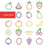 Colorful Fruit Icons stock illustration