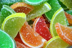 Colorful fruit jellies Stock Photos
