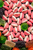 Colorful fruit jellies mix vertical Stock Image