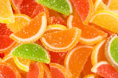 Colorful fruit jelly candies (closeup) Royalty Free Stock Photography