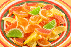 Colorful fruit jelly candies (closeup) Stock Images
