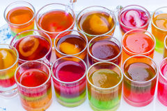 Colorful fruit jelly cup. Royalty Free Stock Image