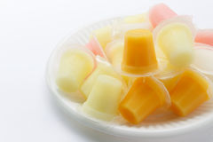 Colorful fruit jelly freeze in packaging on white Stock Photo