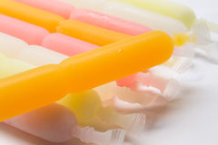 Colorful fruit jelly freeze in packaging on white Royalty Free Stock Photo