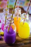 Colorful fruit juice health smoothie straw bottle Royalty Free Stock Image