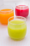 Colorful fruit juice. Colorful of fruit juice on the tableware royalty free stock images