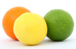 Colorful fruit lemon lime and orange Stock Photos
