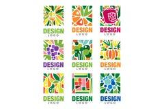 Colorful fruit logos collection. Original label template in rectangular shape. Healthy food concept. Flat vector design vector illustration