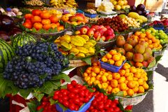 Colorful fruit at the market stock photos