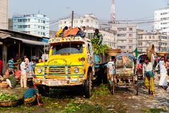 Meat market in the busy capital of Dhaka, Bangladesh royalty free stock image