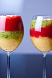 Colorful fruit mousse in glass Stock Photo